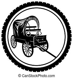 Badge with an old van - The icon with an old van. The...