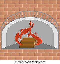 Fireplace, a device for heating the house. Burning fire in...