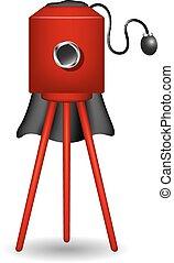 Vintage camera in red design