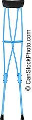 Retro crutches in blue design on white background