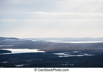 Lapland landscape aerial and clouds