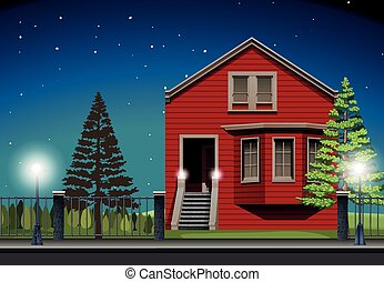 Private house at night time illustration
