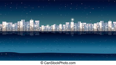 City view at night time illustration