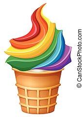 Rainbow ice-cream in cone illustration