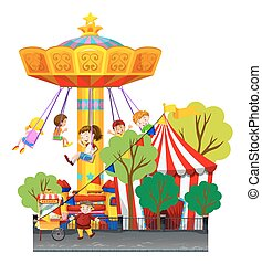 Swing ride at the theme park illustration
