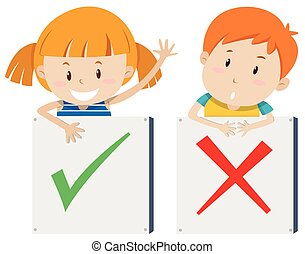Girl with right sign and boy with wrong sign