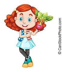 Little girl holding red radish
