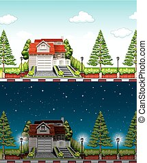 Private house at day time and night time illustration