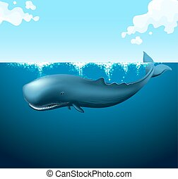 Blue whale swimming in the ocean illustration