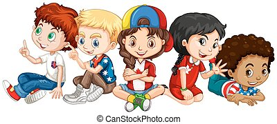 Children from many countries illustration