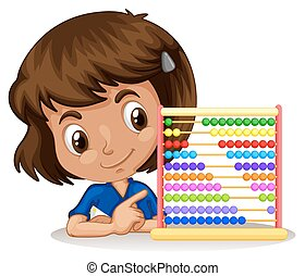 Little girl using abacus to count illustration