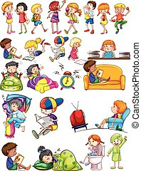 Boys and girls doing activities illustration