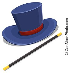 Magician hat and magic wand