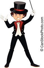 Male magician in black suit