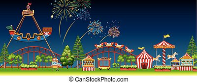 Amusement park scene at night illustration