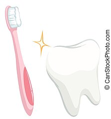 Dental theme with tooth and toothbrush illustration