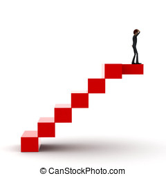 3d man on the top of stairs concept