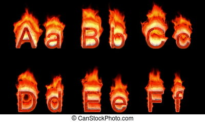 Loopable burning A, B, C, D, E, F. Alpha channel is included