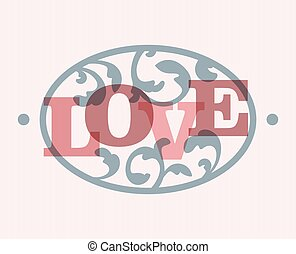 Love Sign - The word LOVE in a swirly ellipse frame. EPS10...