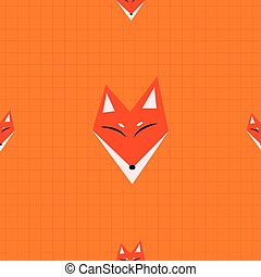 Red Fox Orange Background Vector Illustration