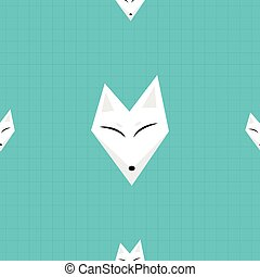 Arctic Fox Blue Background Vector Illustration