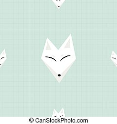 Arctic Fox White Background Vector Illustration