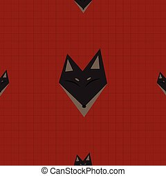 Brown Fox Red Background Vector Illustration