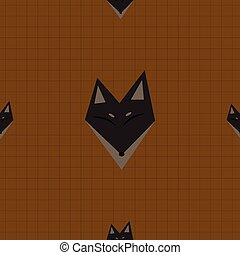 Brown Fox Chocolate Brown Background Vector Illustration