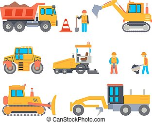 Road under construction flat vector icons set - Road under...