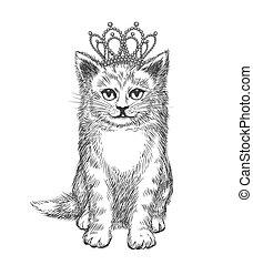 Little kitten wearing crown. Cat sketch, royal luxury, king...