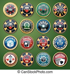 Casino and poker club color glossy vector labels set -...