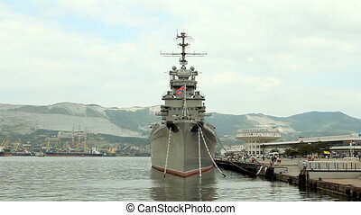The cruiser moored in Novorossiisk on the central...