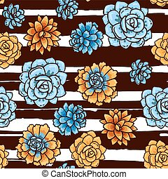 Trend of succulents patterns and stripes. Bright seamless...