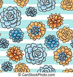 Trend of succulents patterns and stripes Bright seamless...