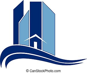 Modern buildings with waves logo