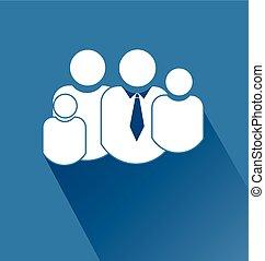 Family symbol flat blue icon logo