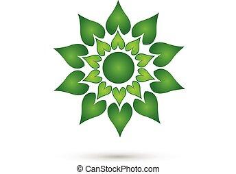 Green flower decor pattern logo