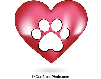 Paw print in a beautiful heart