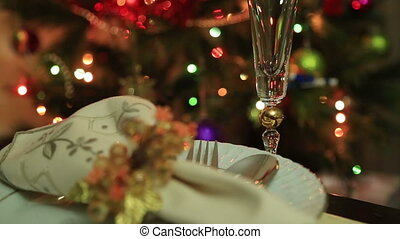 Christmas Table Setting Celebration - Decorated Xmas Dinner...