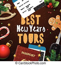 Christmas and New Year, vacations travel, tours