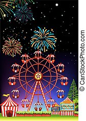 Theme park at night with firework illustration