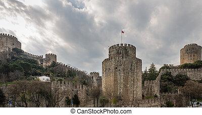 Rumeli Hisari (Castle of Europe) by the Bosphorus Strait,...