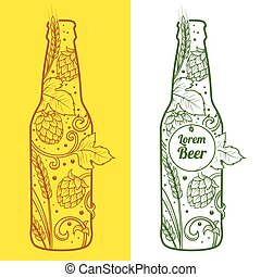 Beer bottle abstract ornament vector illustration. Engraving...