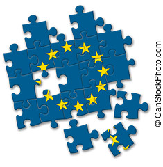 European union EU flag puzzle on the white background