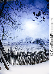 Rural winter landscape - Rural winter mountain landscape...