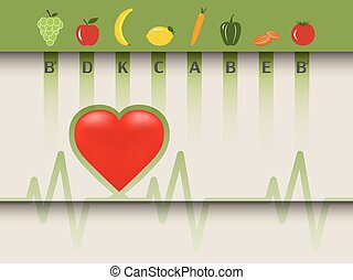 Healthy food for the heart, fruits and vegetables according...