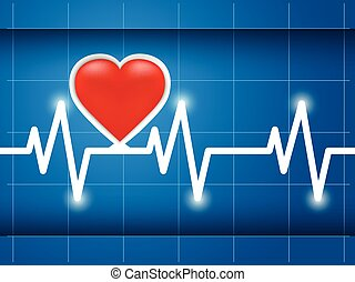 Cardiogram healthy heart - Heartbeat captured on cardiograph...