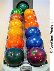 Close-up view of balls in bowling club.
