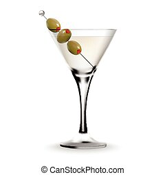 Martini cocktail in a glass with olive. Realistic alcoholic...