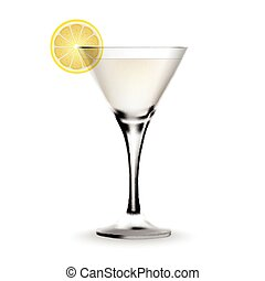 Martini cocktail in a glass with lemon.
